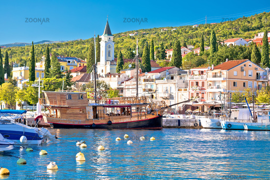 Tourist town of Selce waterfront and harbor view