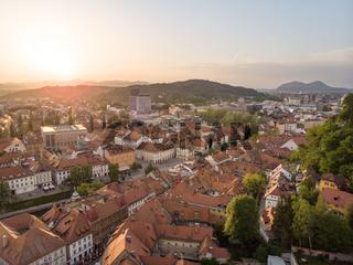 Aerial view of old medieval city center of Ljubljana, capital of Slovenia.