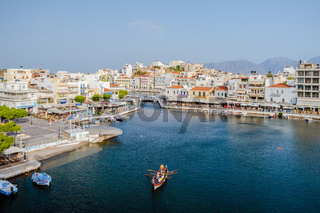 Agios Nikolaos, Crete, Greece. Agios Nikolaos is a picturesque town in the eastern part of the island Crete built on the northwest side of the peaceful bay of Mirabello