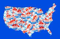 USA map outline created from many election voting stickers or badges