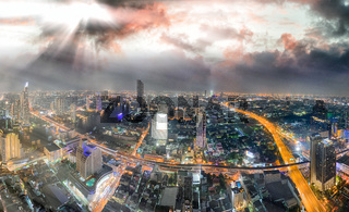 Sunset aerial view of Bangkok skyline, Thailand