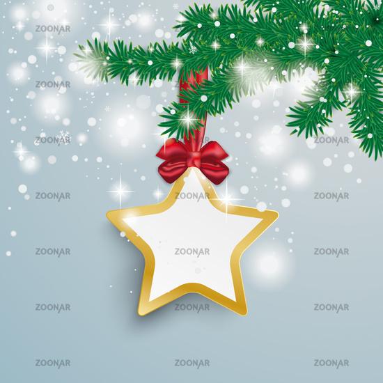 Big Golden Star Snow Lights Red Ribbon Fir Branch