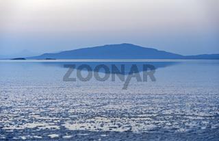 Blaue Stunde nach dem Sonnenuntergang am Assale Salzsee bei Hamadela