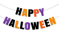 Happy Halloween Bunting Flags Isolated White Background
