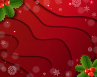 Christmas Card With Holly Berry Red Background