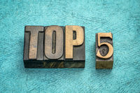 top 5 word abstract in vintage  wood type