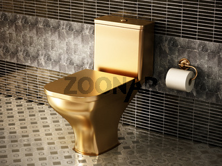 Golden toilet in luxury bathroom. 3D illustration
