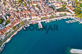 Makarska. Tourist city of Makarska waterfront aerial view