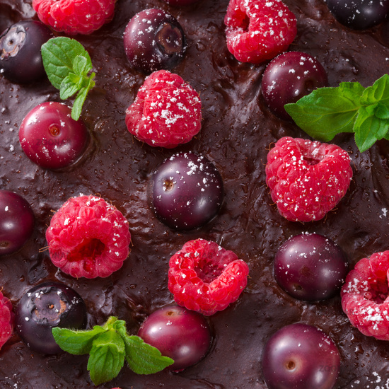 chocolate tartelette with forest fruits