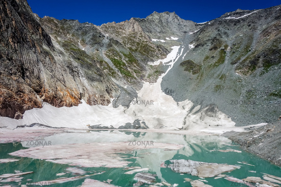 The Ice rink lake, Lac de la Patinoire in Vanoise national Park, French alps
