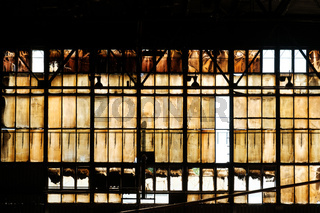 industrial background, window in steel factory -