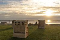 Beach baskets on the beach of Dorum-Neufeld
