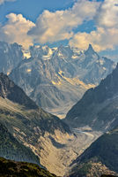 glacier Mer de Glace in the summer with Grandes Jorasses