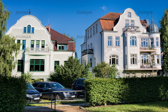 Rostock, Germany - 07.06.2019 - renovated old buildings in the station district