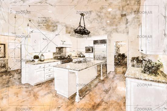 Beautiful Custom Kitchen Concept Design Drawing