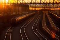 railroad station at sunset