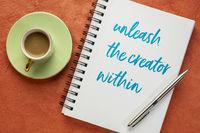 unleash the creator within - inspiratonal note