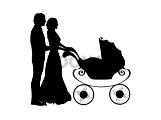 Silhouette parents pushing baby stroller