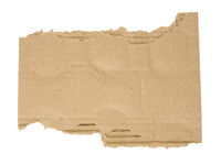 torn piece of corrugated cardboard isolated on white background