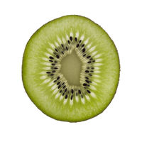 Ripe kiwifruit cut in half, isolated on white background, top view. Health, food, vegan concept