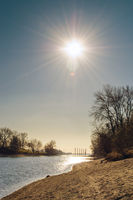 The Danube river in Budapest on a sunny winter day