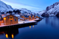Lofoten, Norway Nusfjord iin winter season