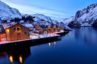 Lofoten Nusfjord im Winter