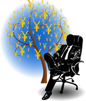 Silhouette of a man in a business suit sitting in a chair near yen money tree