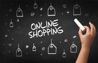 Hand drawing online shopping concept