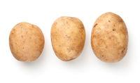 Fresh Raw Potatoes Isolated On White Background