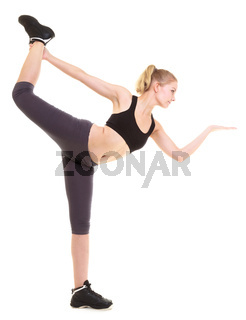 woman exercising jumping stretching dancing