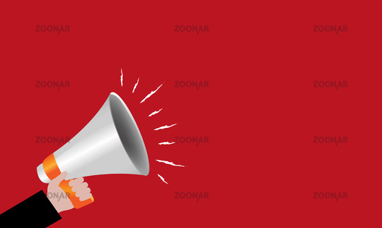 Megaphone With Hand Red Banner