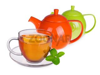 Glass cup of tea