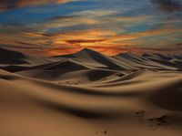dramatic sunset in desert