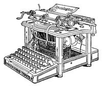 Typewriter Remington. Illustration of the 19th century. White background.