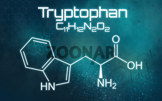 Chemical formula of Tryptophan on a futuristic background
