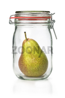 Fresh pear in a canning jar