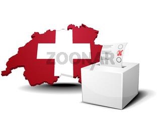 Switzerland with ballot box