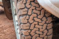 Closeup of all-terrain tire tread of 4x4 SUV
