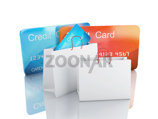 3d credit card. shopping concept