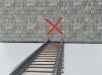 Wrong way to wall on rail symbol 3d illustration