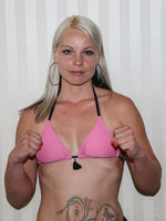 Hungarian featherweight professional boxer Edina Kiss before the SES boxing gala 18.7.2020 Magdeburg
