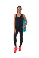 Fitness girl with gymnastics mat