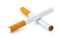 Two filtered cigarettes