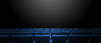 Cinema movie theatre with blue seats rows and a black background. Horizontal banner
