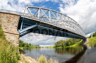 Fisheye view on the first in Russia steel arch bridge across the Msta river