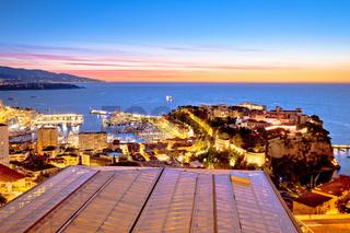 Monte Carlo and Monaco cityscape colorful evening view