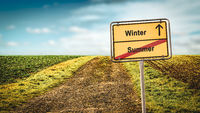 Street Sign to Winter versus Summer