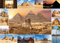 Egypt sights in the collage, views of the Pyramids and Cairo