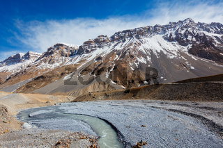 Spiti river in Spiti Valley in Himalayas